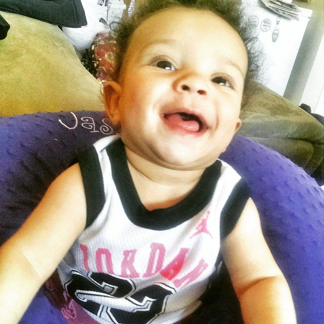 """This is her response to """"say hi to daddy!"""" #loveher #beautifullyblended #beautifulbabies"""