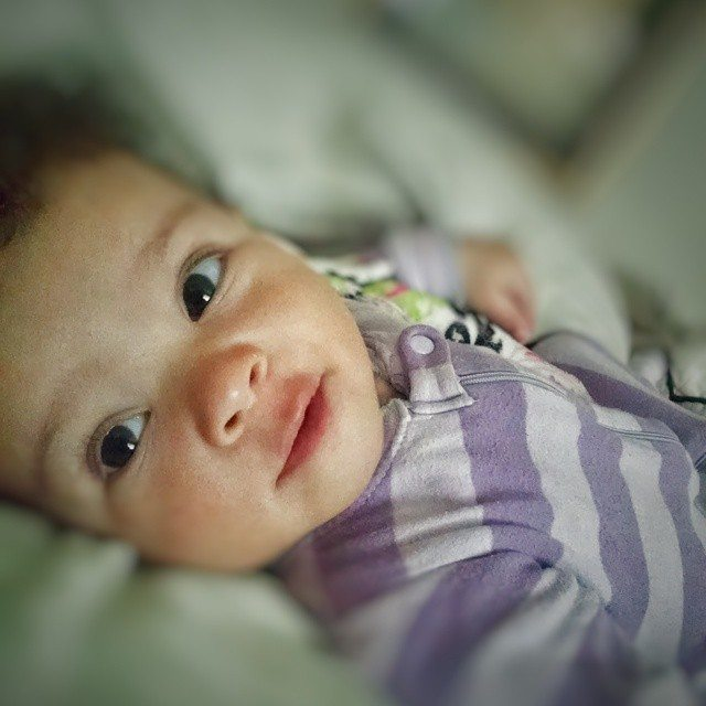 My favorite time of day...waking up to this face.  #loveher #love #beautiful #beautifullyblended #beautifulbabies